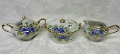 Antique TE-OH Nippon Hand Painted Violets Moriage Creamer Sugar Bowl Butter Dish