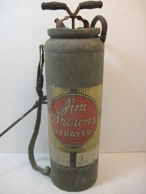 Vintage Antique Jim Browns Galvanized Steel Metal Sprayer Tool Garden