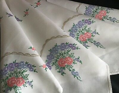 Beautiful Large Vintage Linen Hand Embroidered Tablecloth ~ Lovely Florals