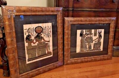 Designer Custom Framed Matted Pair of Egyptian Papyrus Drawings of Figures (2)