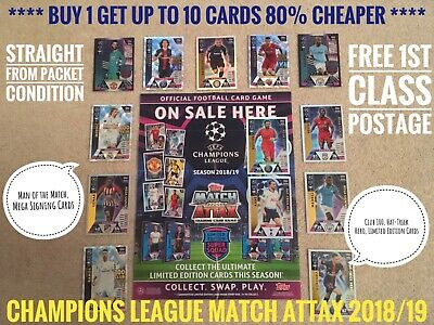 Topps CHAMPIONS LEAGUE Match Attax Cards 2018/19 18/19, Buy 2 Get 8 Free, 199+