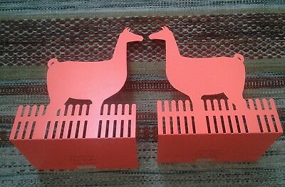 Pair of Llama fluorescent Orange Metal Bookends design by ny-lon