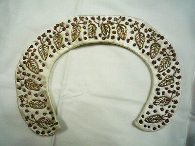 Vtg 40s 50s 1940 1950 Collar Peter Pan Embroidered Leaf Satin Gold Red Ivory S