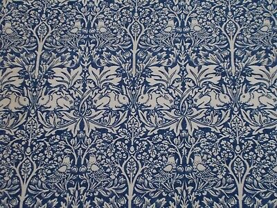 William Morris Curtain Fabric 'BRER RABBIT' 2.6 METRES Indigo/Vellum - Linen Mix