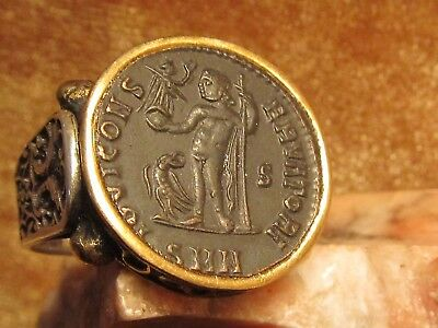 Authentic Ancient Roman Coin Beautiful Bronze Scene of Victory Men's Ring!
