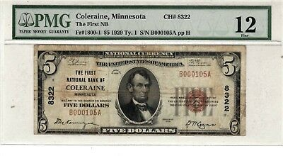 1929 The First National Bank COLERAINE MN $5 National Currency PMG 12