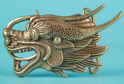 Unique Chinese Bronze Statue Belt Buckle Sacred Dragon Mascot Old Collection