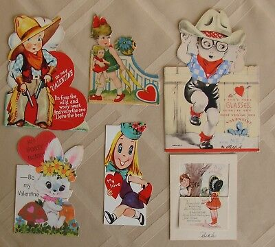 Vintage Valentine's Day Cards - Mixed Lot Of 6  - 1930's to 1960's