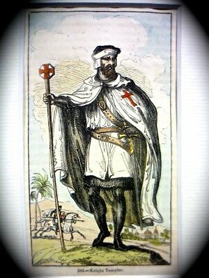 Hand-Colored Engraving 'knight Templar' Secret Societies Of The Middle Ages 1837