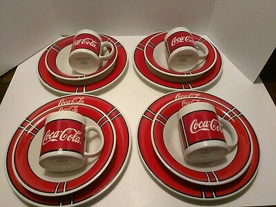1996 Coca-Cola (Coke) Gibson 12 Piece Dinnerware Set - Plates, Bowls, Mugs