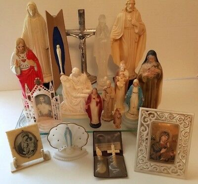 Lot of 18 Vintage Religious Statues Jesus Mary Pieta St Martin DePorres Cruficix