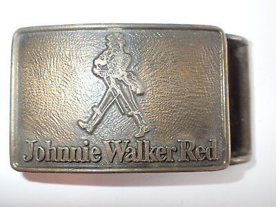 VINTAGE 1970's JOHNNIE WALKER RED SCOTCH WHISKY BELT BUCKLE BRASS - FOR CHARITY