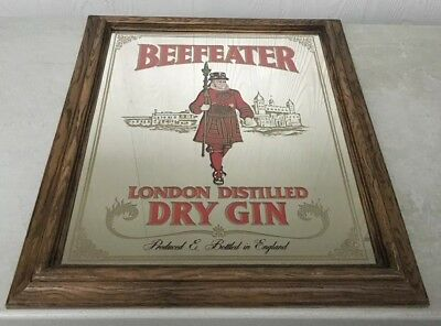 "Vintage 23"" Beefeater Mirror London Distilled Dry Gin Wall Hanging Man Cave/Bar"