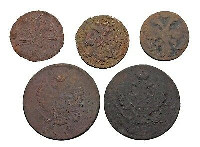 Lot of 5 old coins from Russia, 1700-1800's