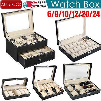 6/9/10/12/20/24 Grids Watch Display Case PU Leather Jewelry Storage Organize Box