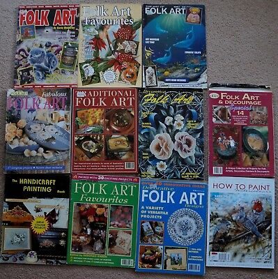Assorted Old Style Folk Art Magazines with Patterns