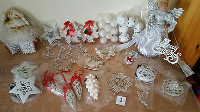 White Xmas Decorations With Lightup Angel Tree Topper