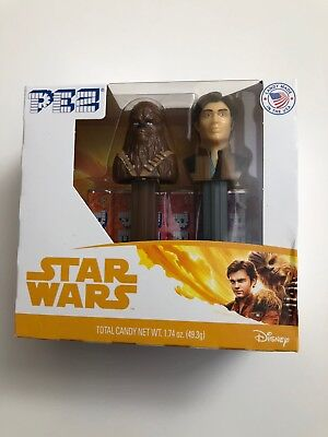 PEZ Candy Dispenser Twin Pack Star Wars Han Solo And Chewbacca Collector Sealed