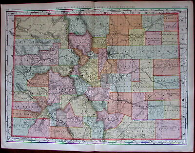 Colorado state by itself c.1902 huge Rand McNally very detailed large folio map