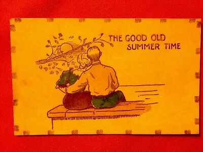 Vintage Leather Postcard Unused The Good Old Summer Time Man & Woman Embracing