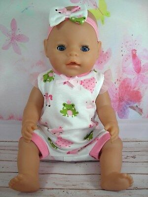 """Dolls clothes for 17"""" Baby Born doll~UNICORN~FROG~PRINCESS JUMPSUIT & HAIR BOW"""