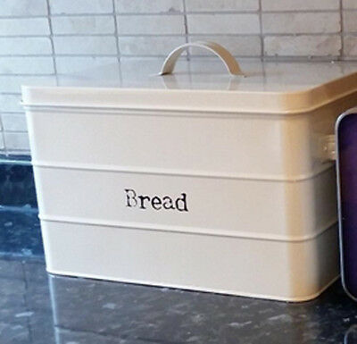 Cream Metal Bread Bin Kitchen Vintage Retro Style Storage Canister Box With Lid