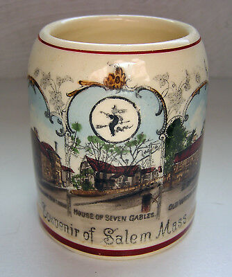 ANTIQUE Souvenir Beer Stein SALEM WITCH House Seven Gables Hawthorne GERMANY