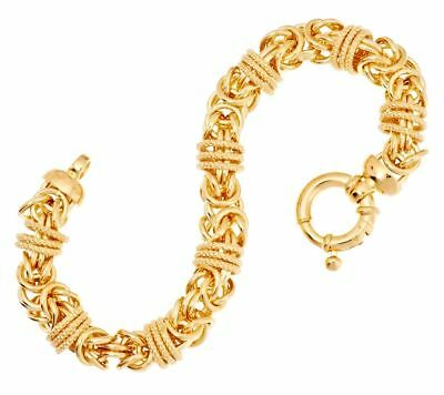 QVC 14K Yellow Gold Over Bronze Polished Textured Byzantine Bracelet $199