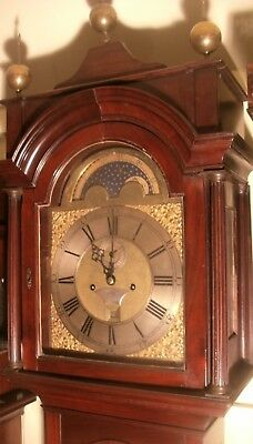 "Antique  Mahogany  "" London "" Brass Moon  Dial   Longcase / Grandfather Clock"