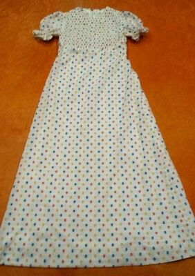 Womens Cute Vintage 60s 70s XS White Blue Orange Yellow Spots Maxi Spring Dress