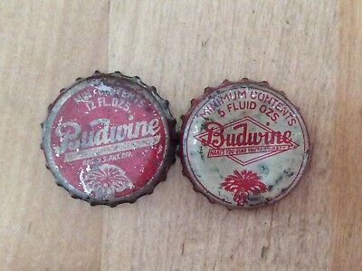 2 Different  Budwine   Soda Bottle Caps - Cork  Lined- Used