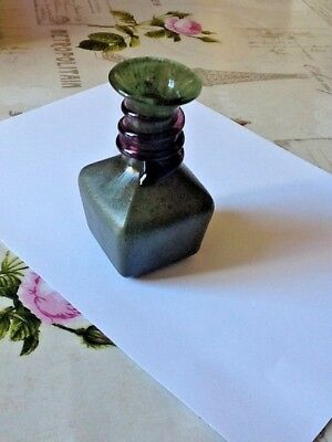 Czech Irridescent Green Vase with Purple Snake Trail