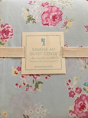New ~Pottery Barn Kids Savannah Blue Floral Duvet Cover~Full/Queen~Free Shipping