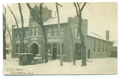 1914 Clinton, Wisconsin Antique Real Photo Post Card RPPC - City Hall