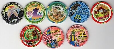 Collection of Lady Luck Las Vegas Nevada Chips, $5 - $100