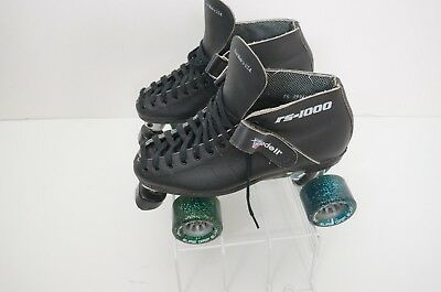 Black RS1000 Riedell Speed Skates Invader Plate Blast Wheels Mens Boot Sz 7.5
