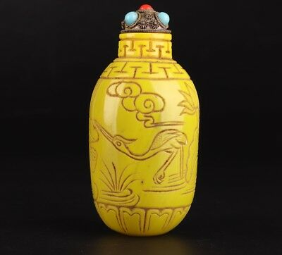 Rare Yellow Coloured Glaze Hand-Carved Lotus Statue Snuff Bottle Collection