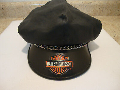 384cbbcf318 Vintage Officially Licensed Harley Davidson Leather Captain Hat Cap made in  USA