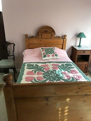 Bed Antique Twin German Pine Carved circa 1870 w/ Custom Mattress