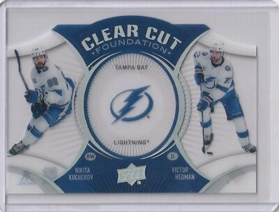 2018-19 Upper Deck Series 1 Clear Cut Foundations Lightning Kucherov Hedman