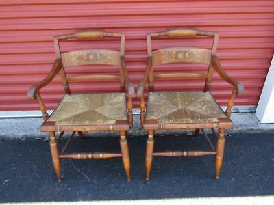 2- Hitchcock Dining Stenciled Canned Arm Chairs Very Nice - SHIPPING IS NOT FREE