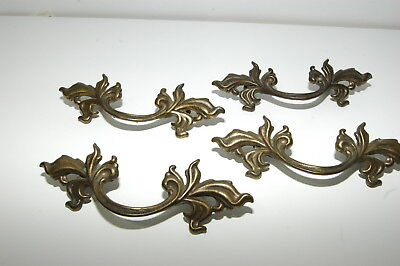 Vintage French Provincial Style Brass Waterfall Drawer Chest Pulls 4 Pcs
