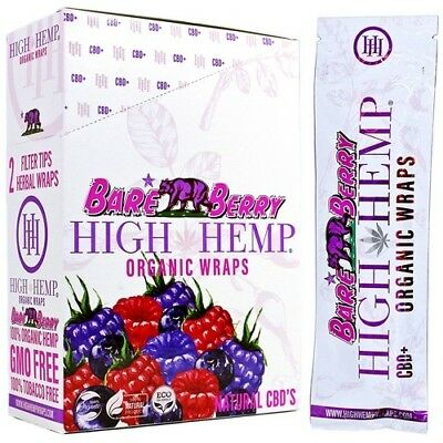 High Hemp Organic Hemp Wraps Bare Berry Flavor Half Box - 12 Packs