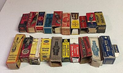 21 EMPTY Vintage spark plug BOXES ONLY Used and Damaged