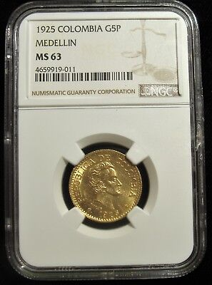 Colombia: Republic gold 5 Pesos 1925. MS63 NGC.