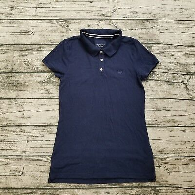 b5990101 American Eagle Outfitters AEO Women's Blue Polo Shirt Size Medium M