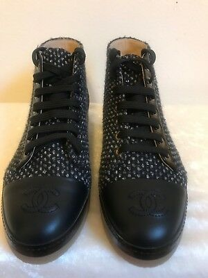CHANEL 36 BLACK Blue Tweed Lambskin Lace Up Sneakers Tennis Shoes ... addf4b82a38