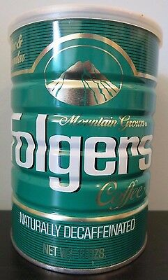 Vintage Unopened 13 oz Folgers Decaf Coffee Can w/Plastic Lid NOS