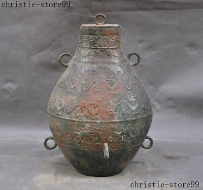 Old Chinese Pure Bronze Ware Beast Dragon Loong Ring Zun Cup Bottle Pot Vase Jar