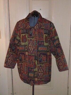 White Stag Tapestry Jacket with Scattered Beading Accents - Size 18W to 20W